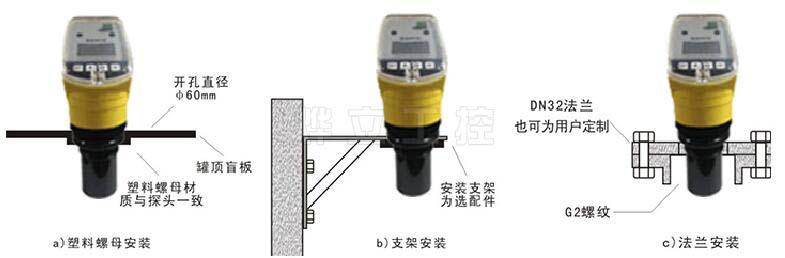 超声波液位计三种安装方式